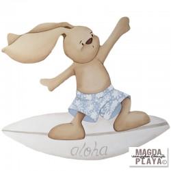 Silueta Conejito surfeando