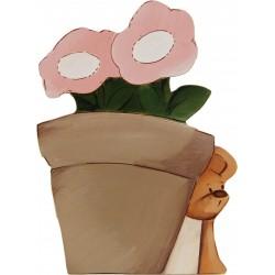Maceta flores con ratón