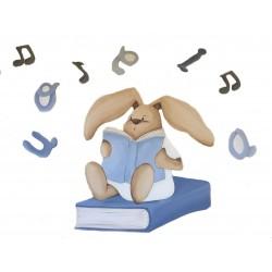 Silueta conejito leyendo