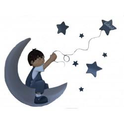 Composición silueta Niño luna