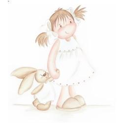 Reproducción niña con conejito